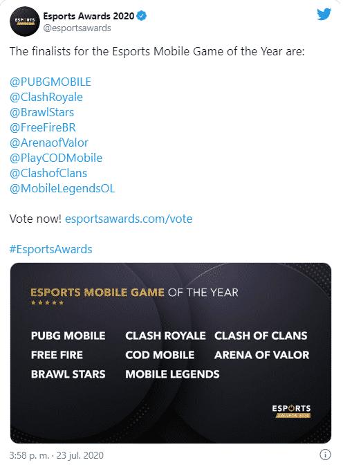 Nominados a Esports Awards 2020
